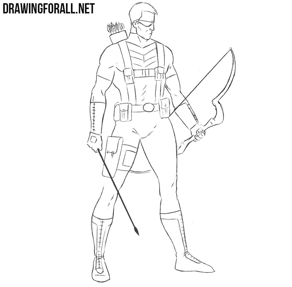 How to draw Hawkeye from avengers