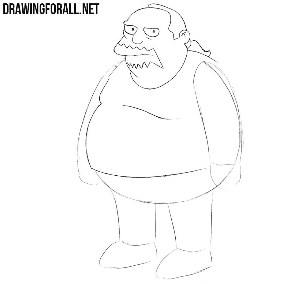 How to draw Jeffrey Jeff Albertson from the Simpsons