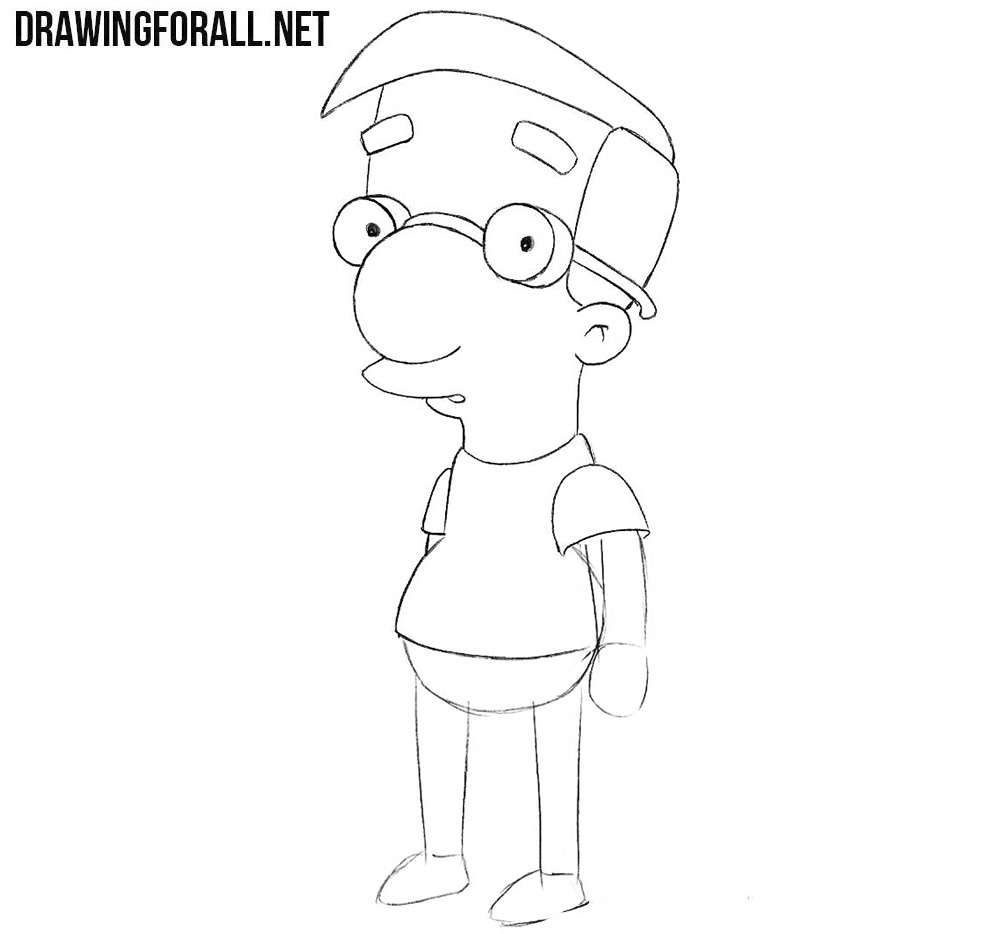 How to draw Milhouse step by step