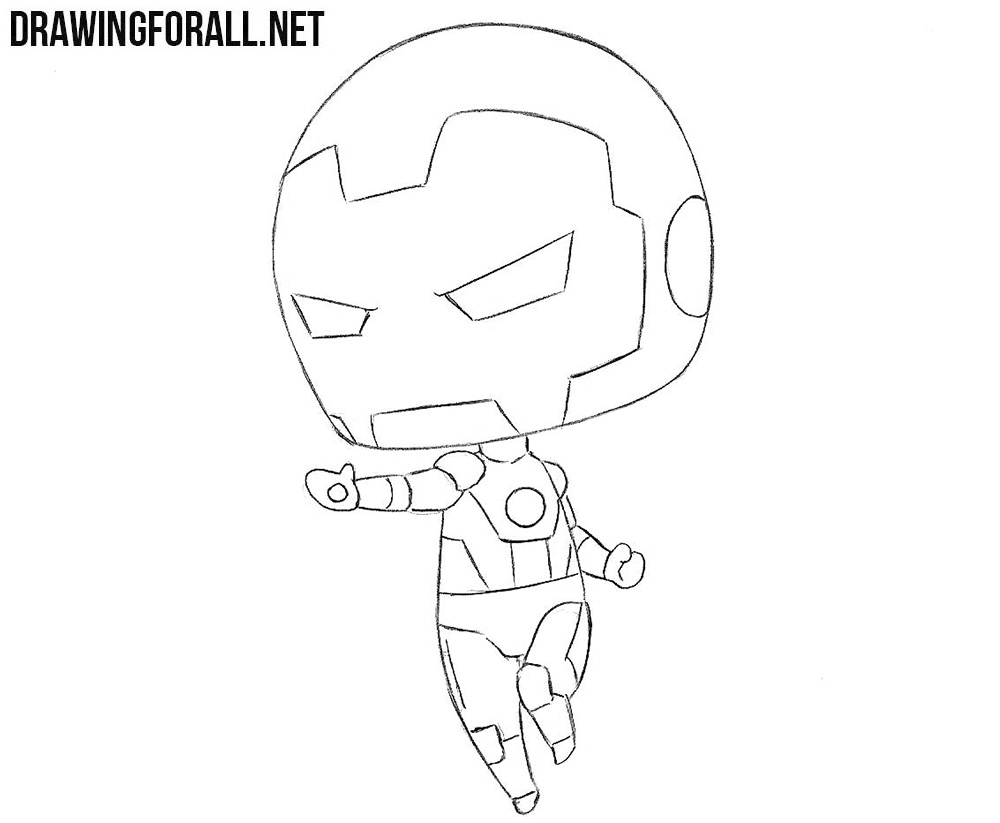 How to draw a chibi iron man
