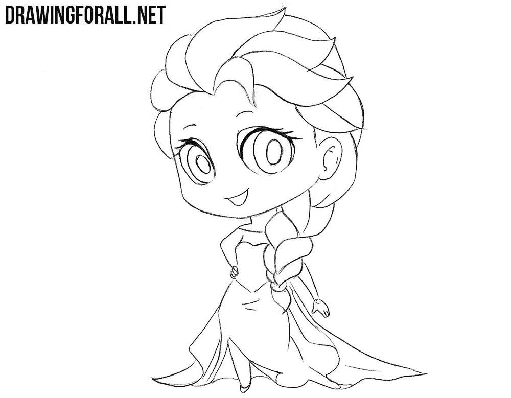 how to draw chibi elsa drawingforallnet