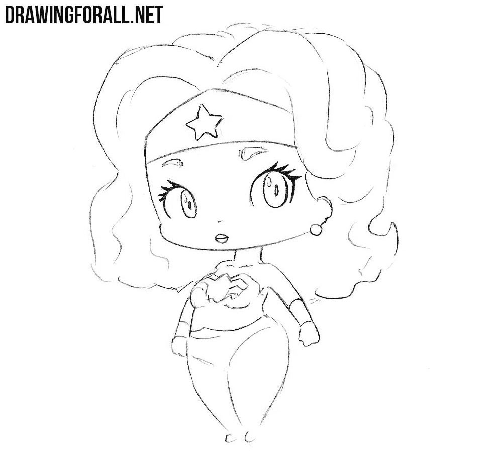 Learn how to draw chibi Wonder Woman