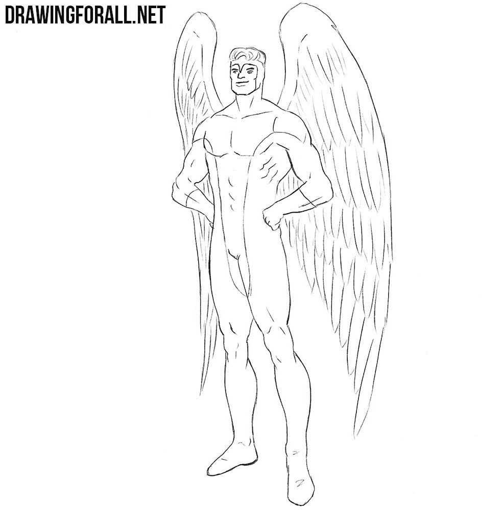 How to draw Angel from X men
