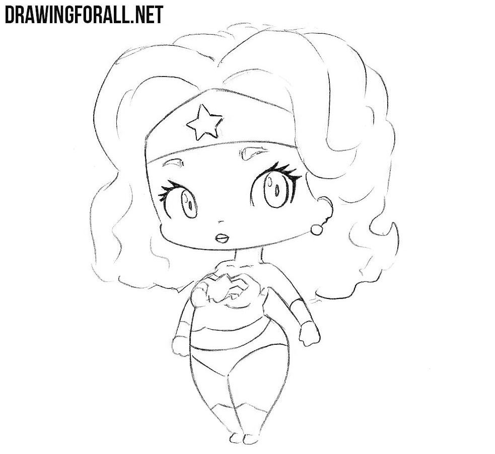 how to draw chibi wonder woman drawingforall net