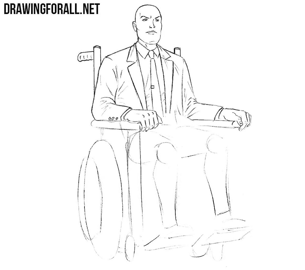 How to draw professor Charles Xavier