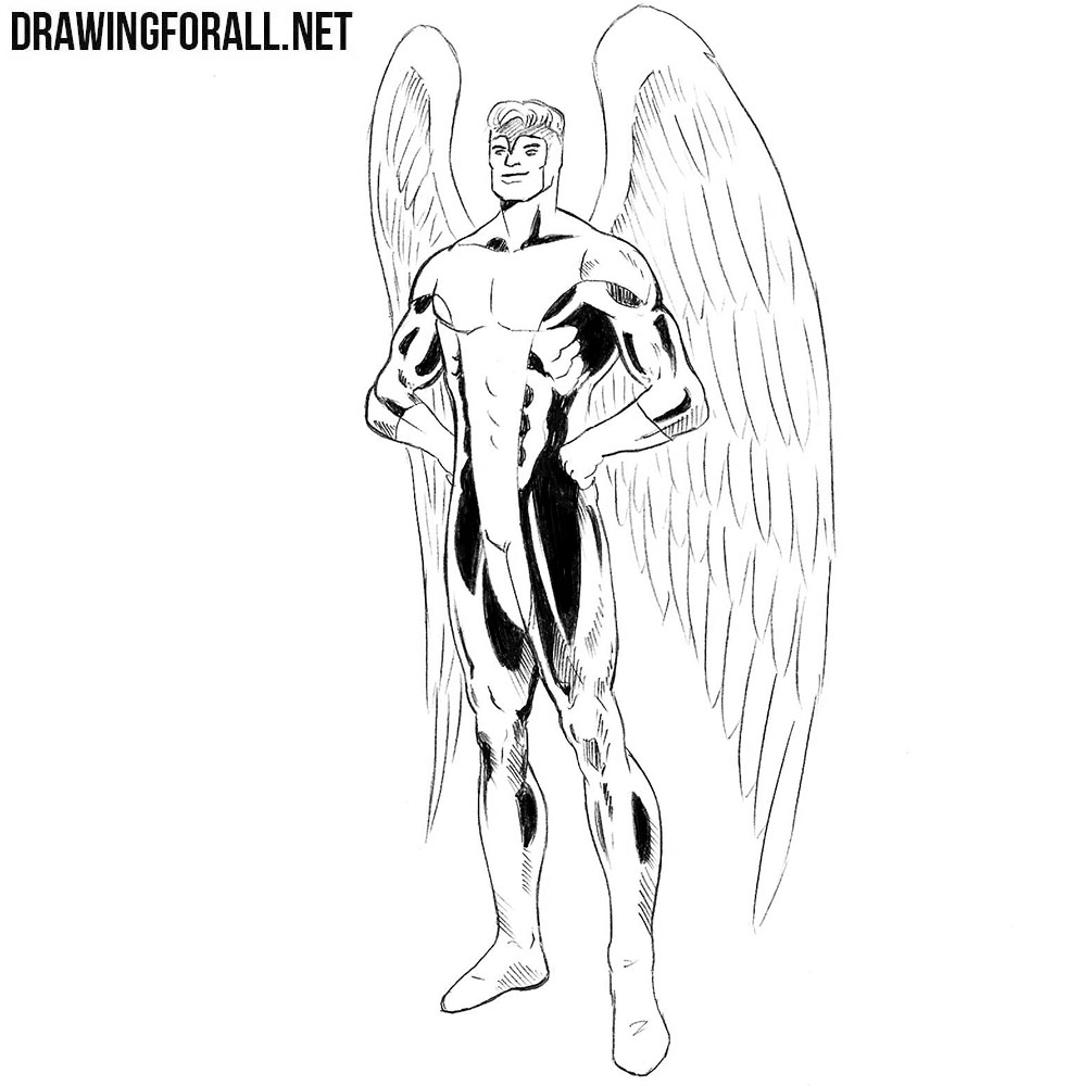 How to draw Angel from Marvel