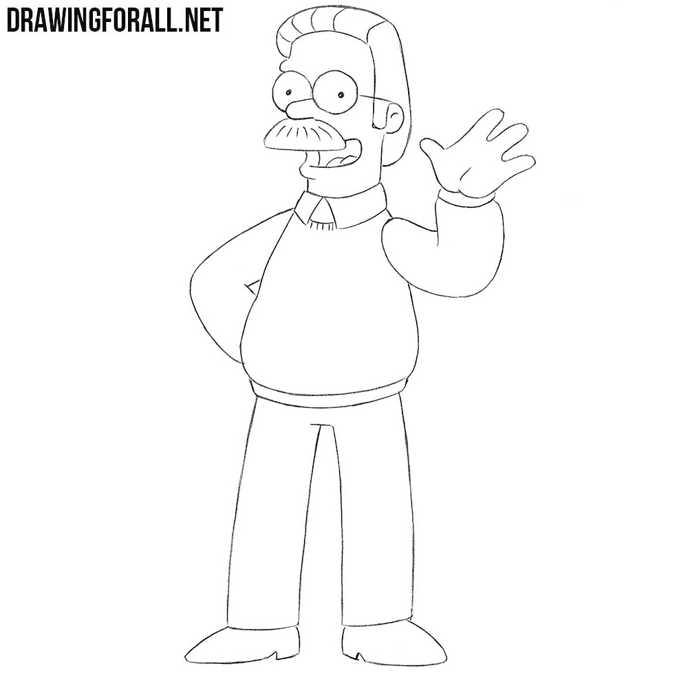 How to draw Flanders from the Simpsons