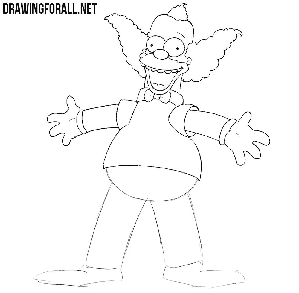 How to draw Krusty the Clown from the simpsons