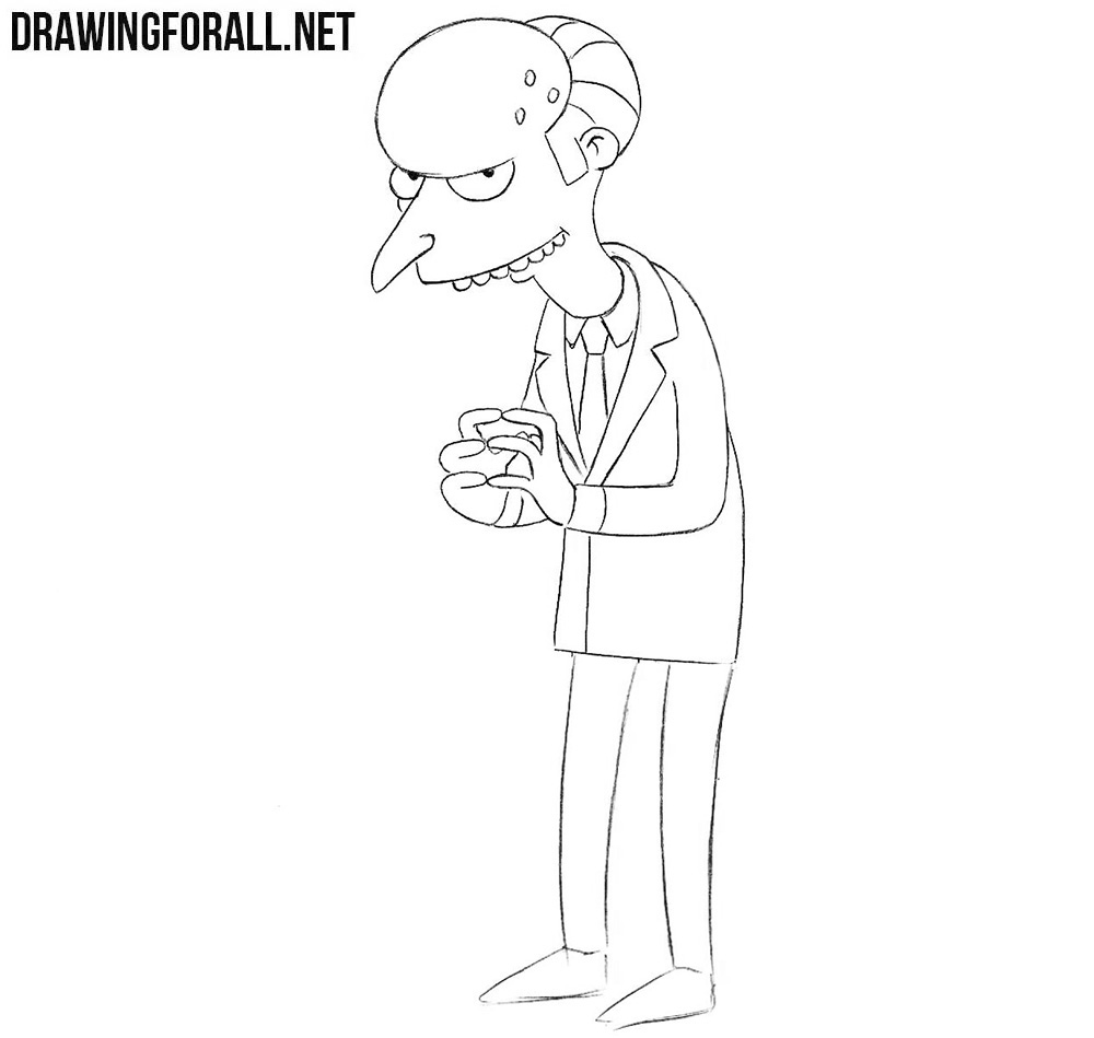 How to draw Mr Burns from the simpsons