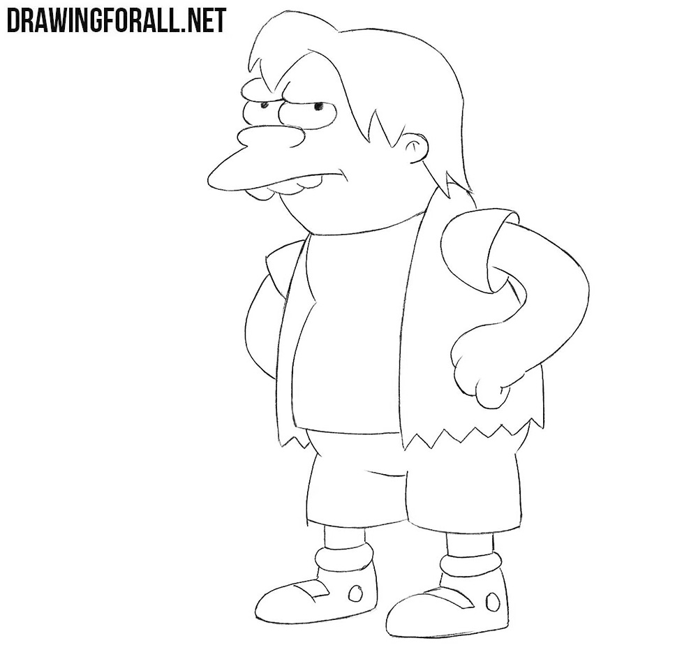 How to draw Nelson from the Simpsons