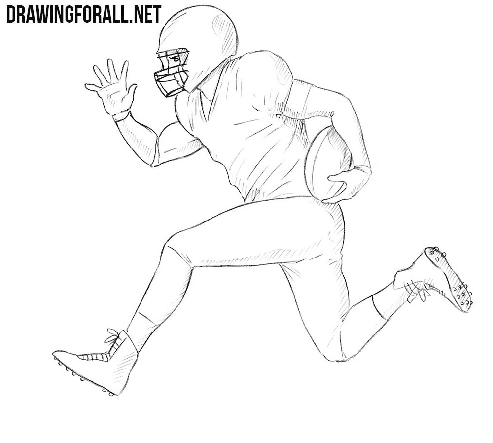 How to draw an american football player