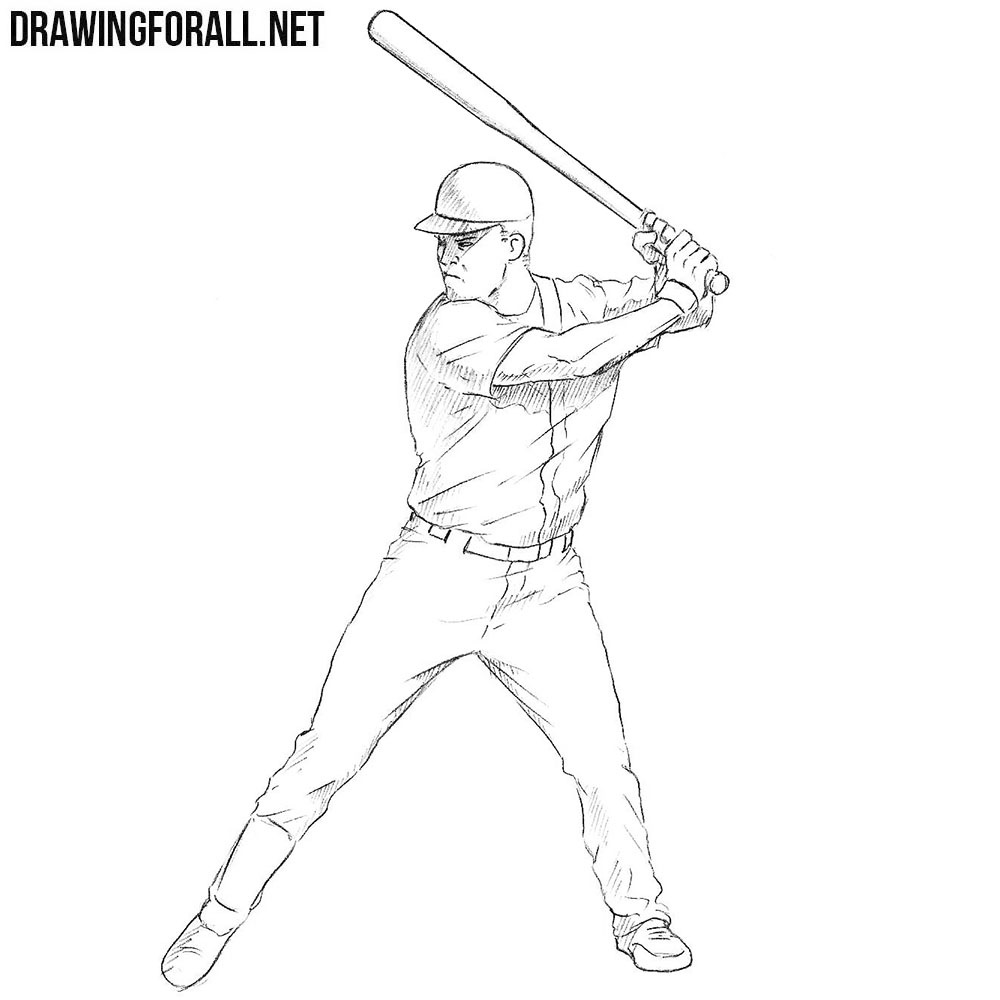 How To Draw A Baseball Player Drawingforall Net