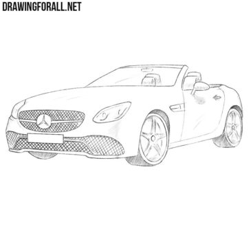 How to draw a Mercedes-Benz SLC