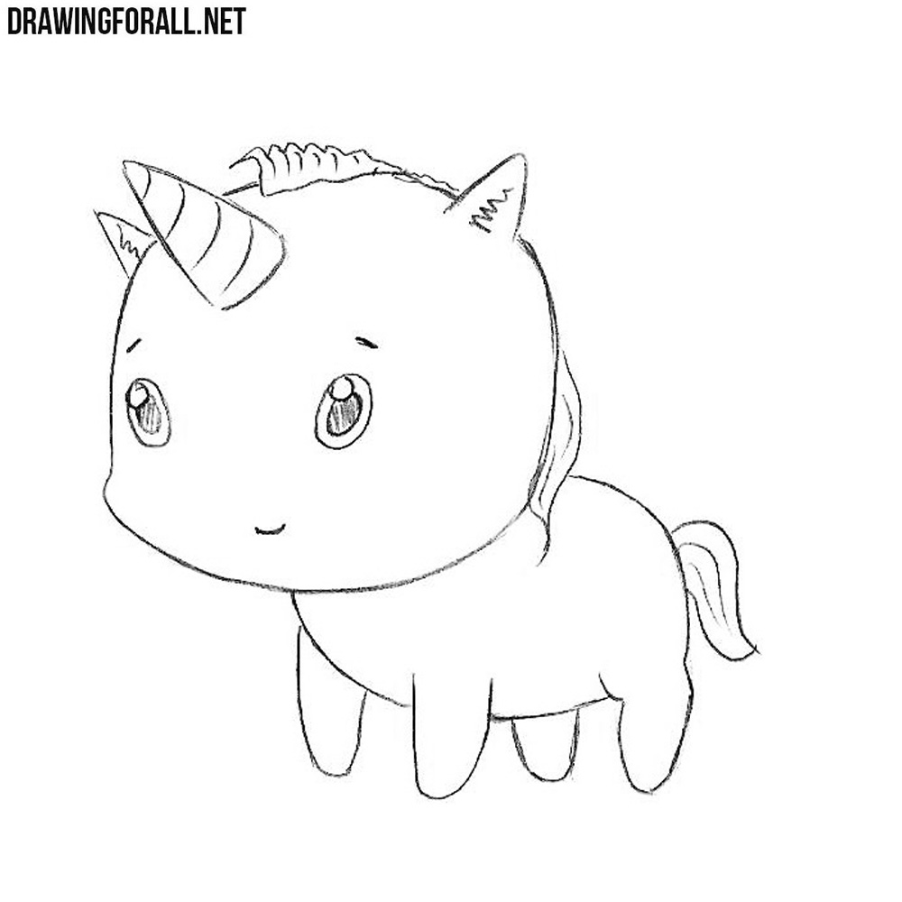unicorn line art chibi