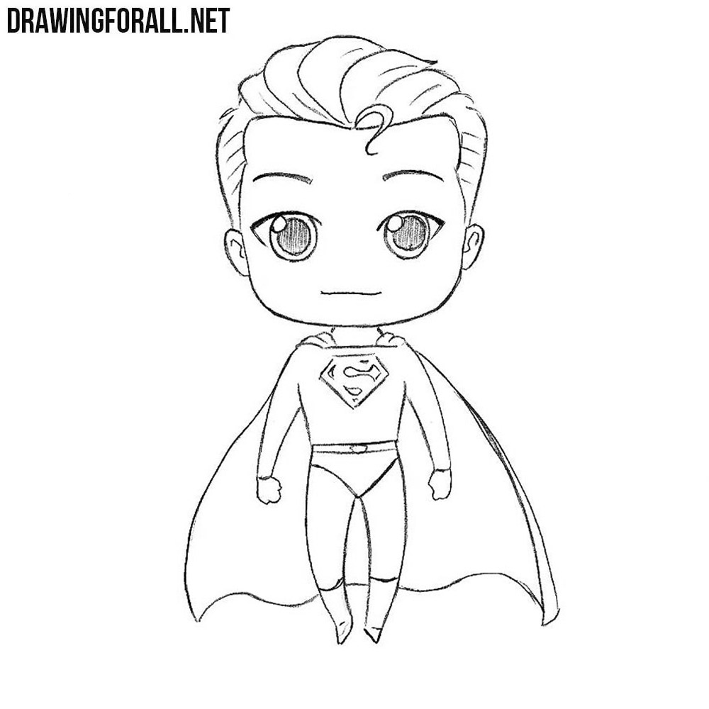 how to draw chibi superman drawingforallnet