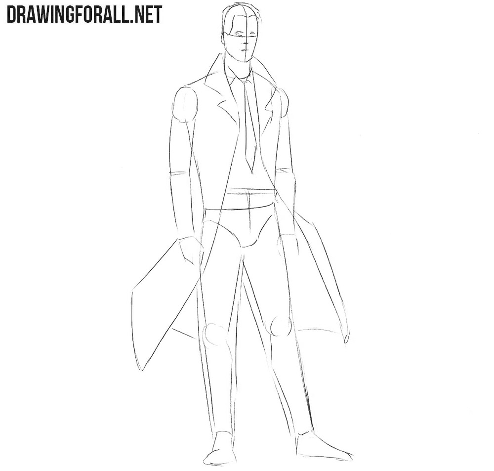 How to draw Constantine from comics step by step