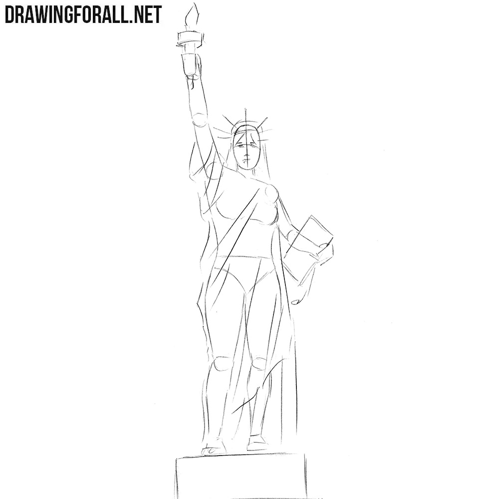 How to draw Statue of Liberty step by step