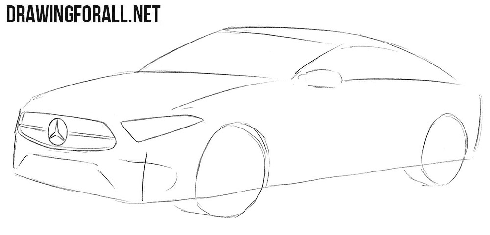 How to sketch a Mercedes-Benz CLS step by step