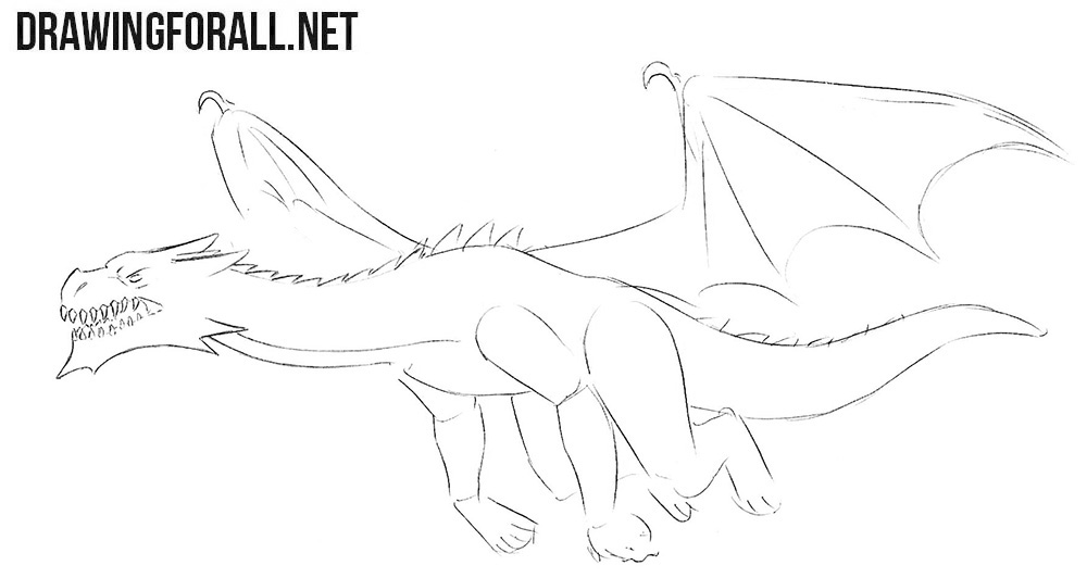 Flying dragon drawing tutorial