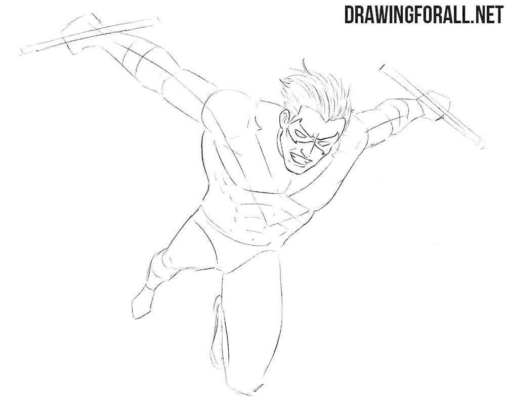 How to draw Nightwing from Batman