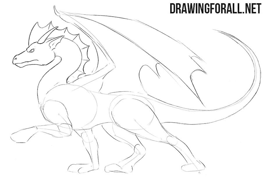 How to draw a standing dragons step by step