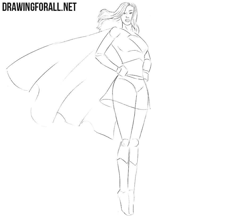 Learn to draw supergirl step by step