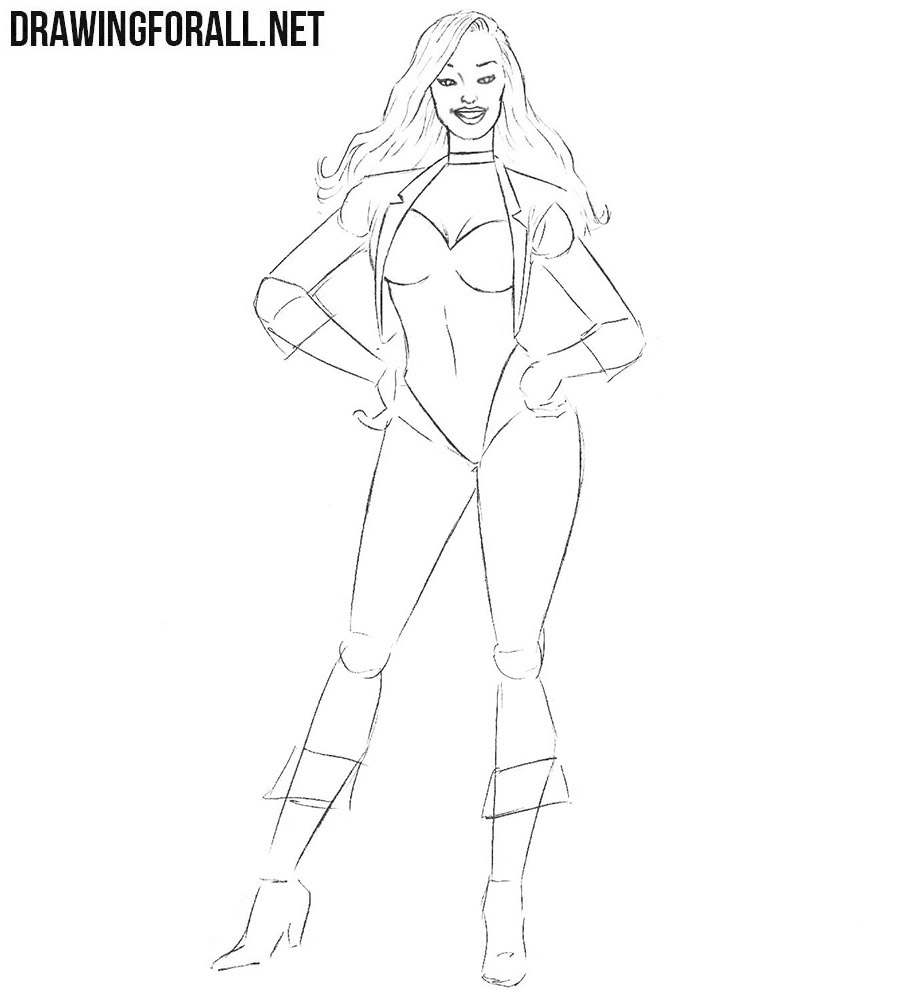 How to draw Black Canary with a pencil