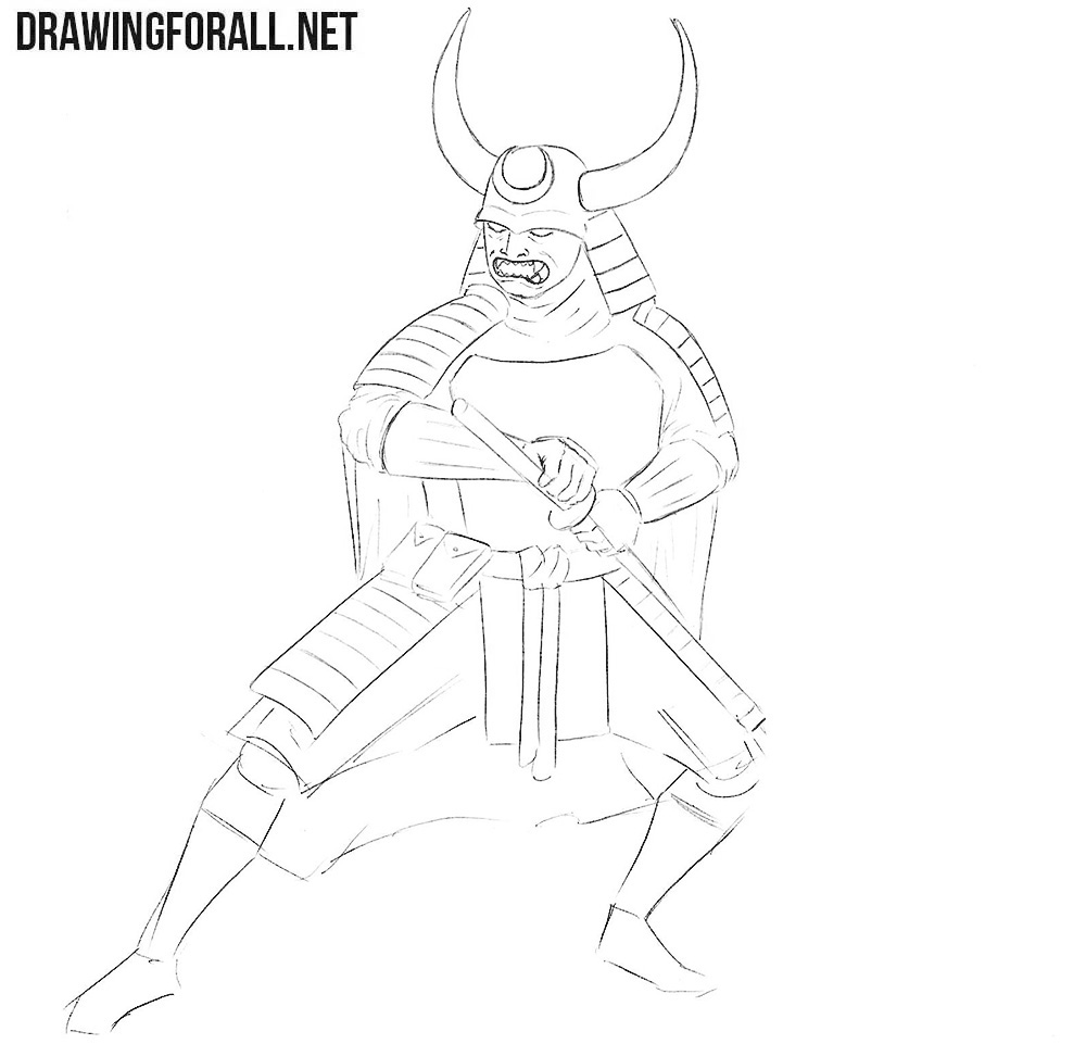 How to draw a Samurai in Armor step by step