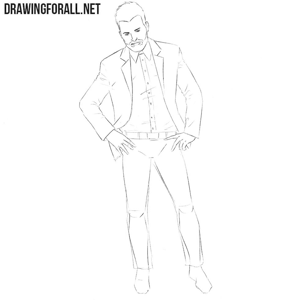 How to sketch Jesse Custer step by step