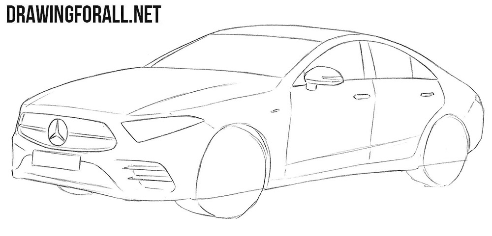 Learn how to draw a Mercedes CLS step by step