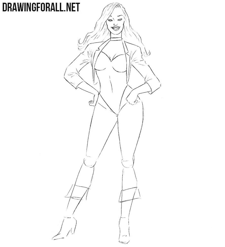 How to draw Black Canary step by step