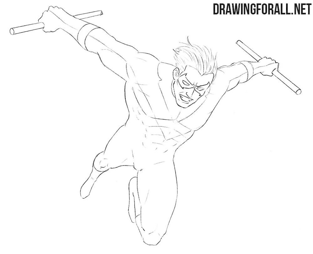 How to draw Nightwing from DC
