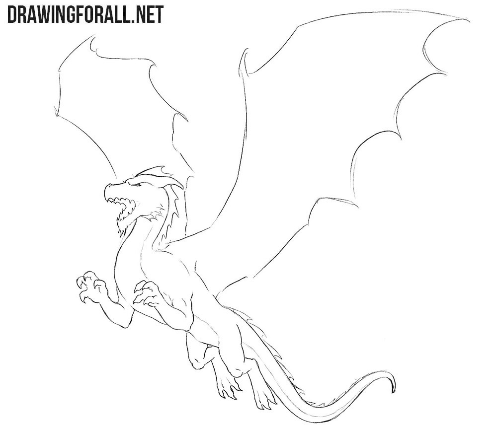 How to draw a dragon for beginners with a pencil