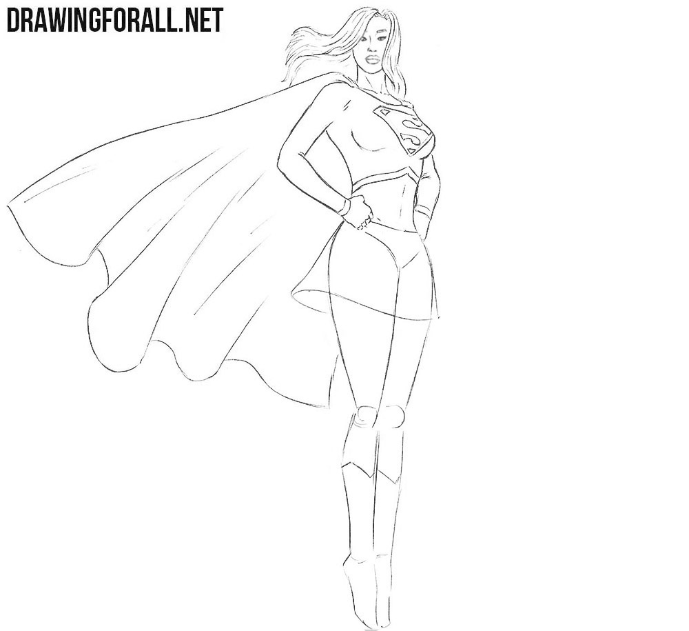 Learn how to draw Supergirl step by step