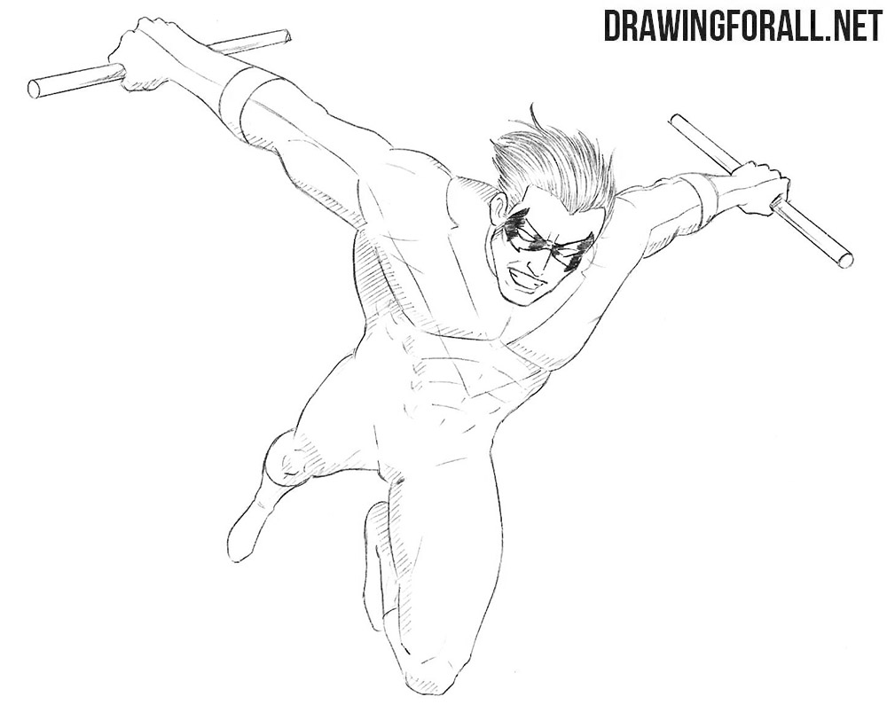 How to draw Nightwing
