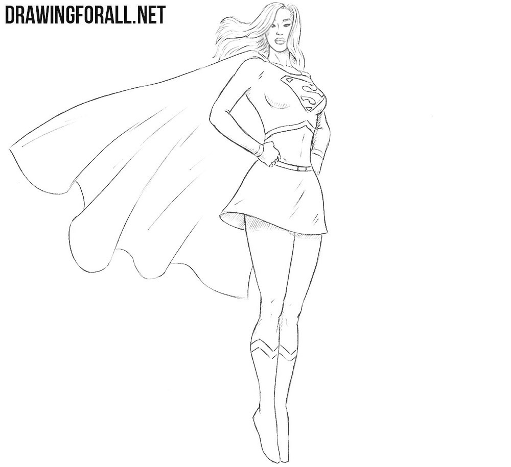How to draw Supergirl