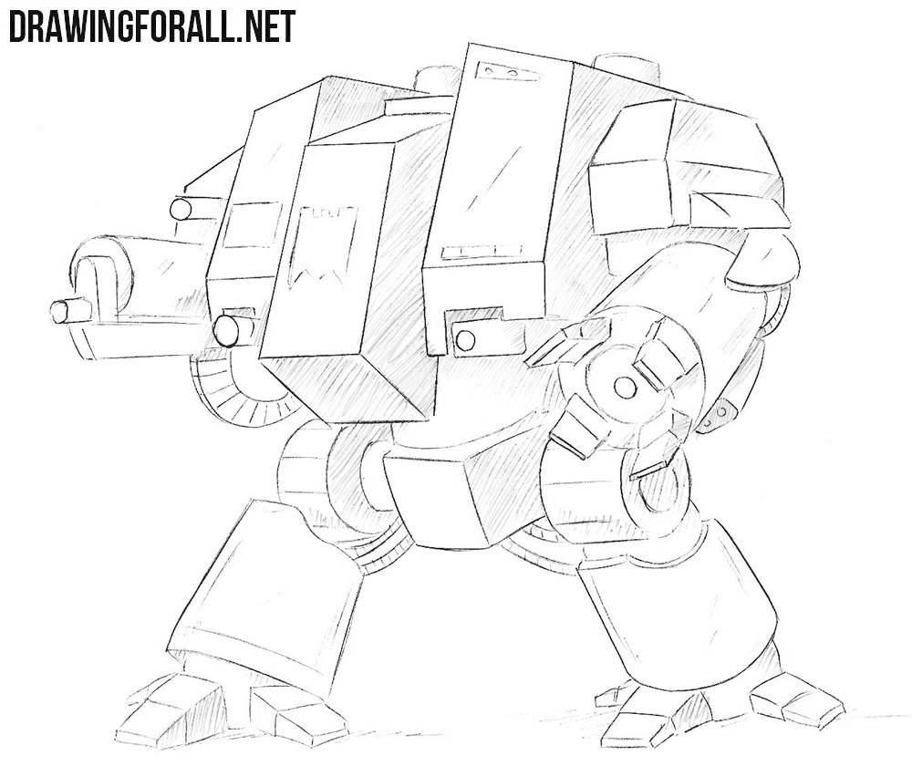 How to draw a dreadnought from warhammer