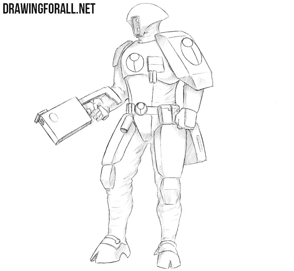 How to draw a tau Fire Warrior from warhammer 40000