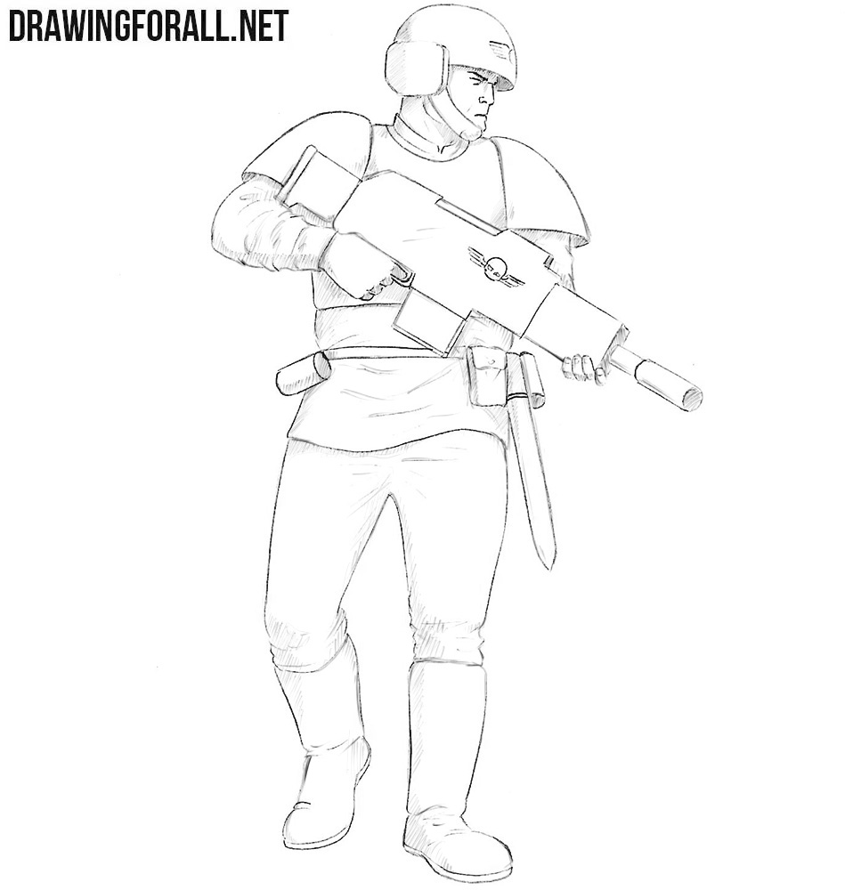 How to draw an Imperial Guard
