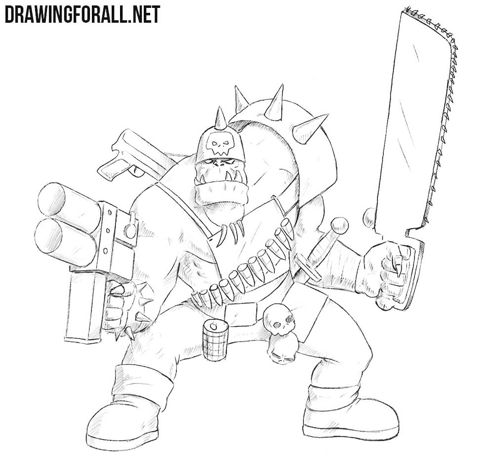 Ork from warhammer drawing