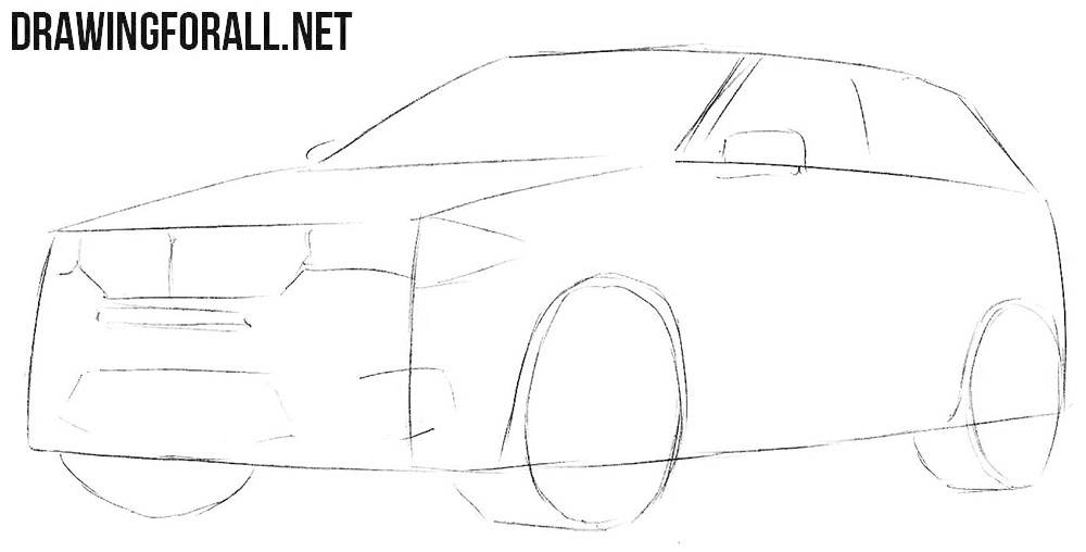 How to draw a BMW X5 step by step