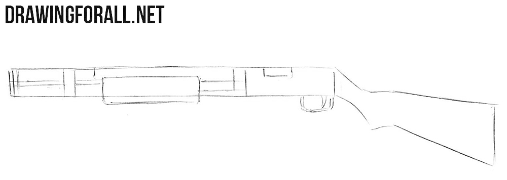 How to draw a shotgun simple