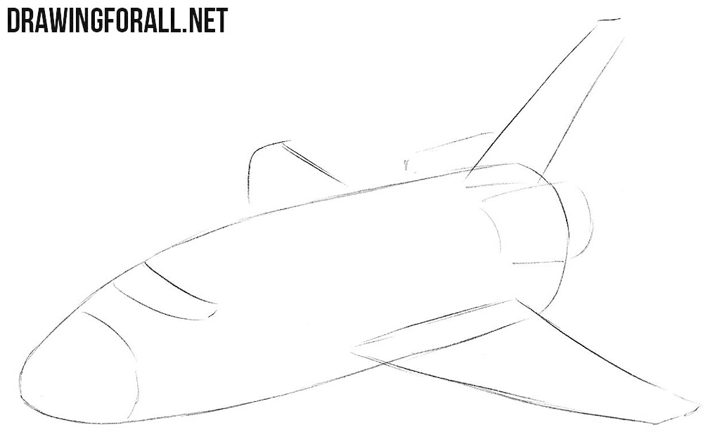 How to draw a shuttle step by step