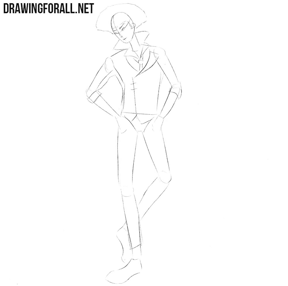 How to draw Spike Spiegel step by step