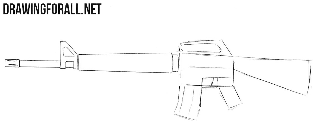How to draw a rifle M16
