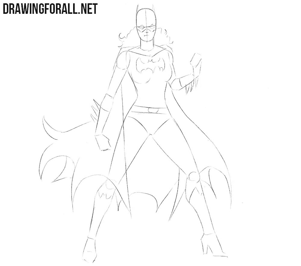 How to sketch Batgirl step by step