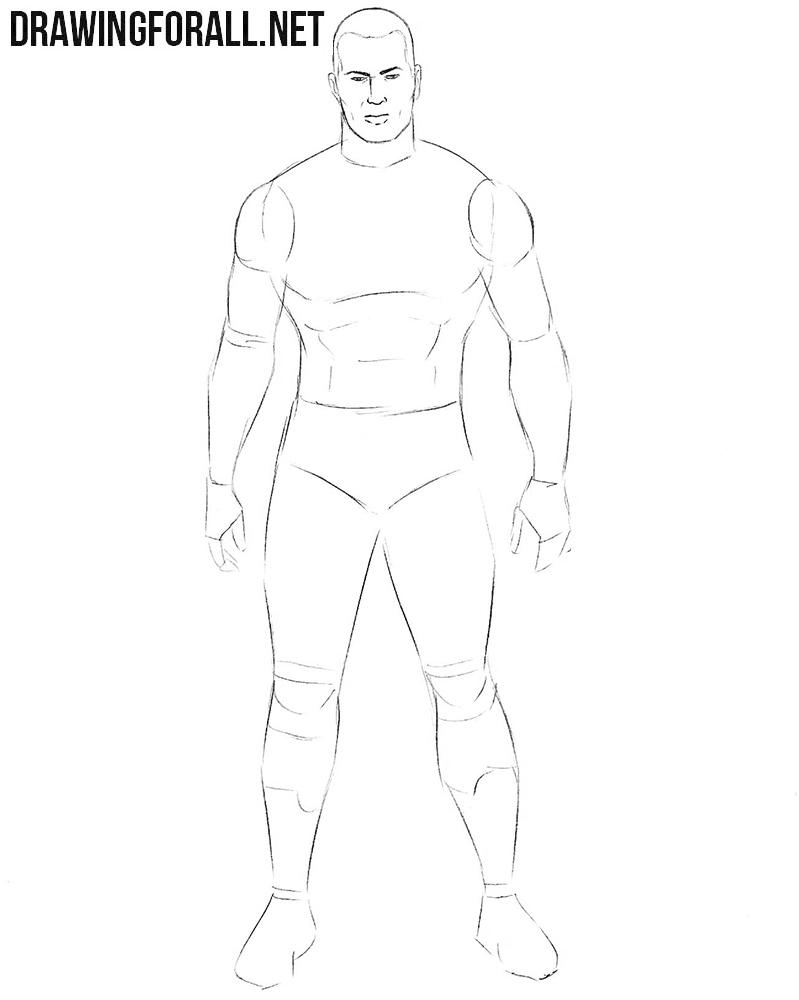 How to draw a classic wrestler
