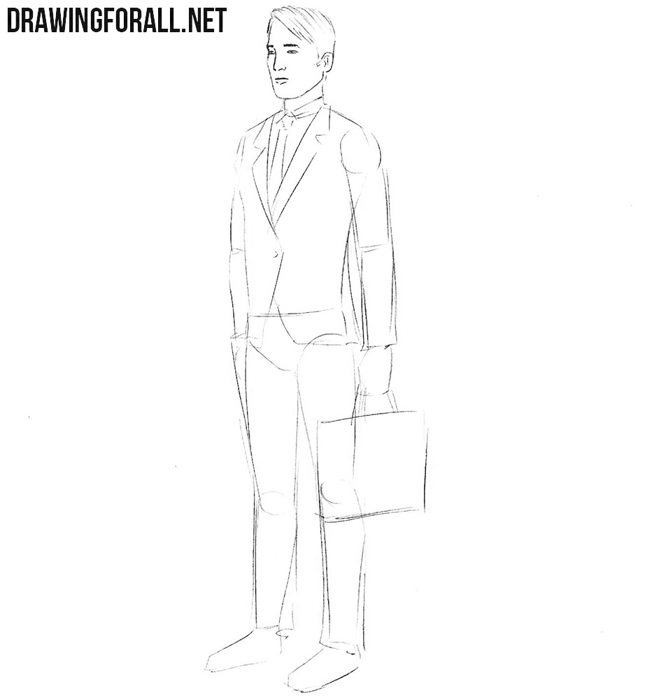 How to sketch an insurance agent step by step