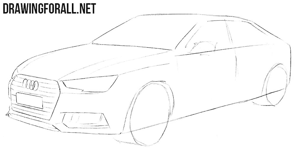 Learn how to draw an Audi A4 step by step