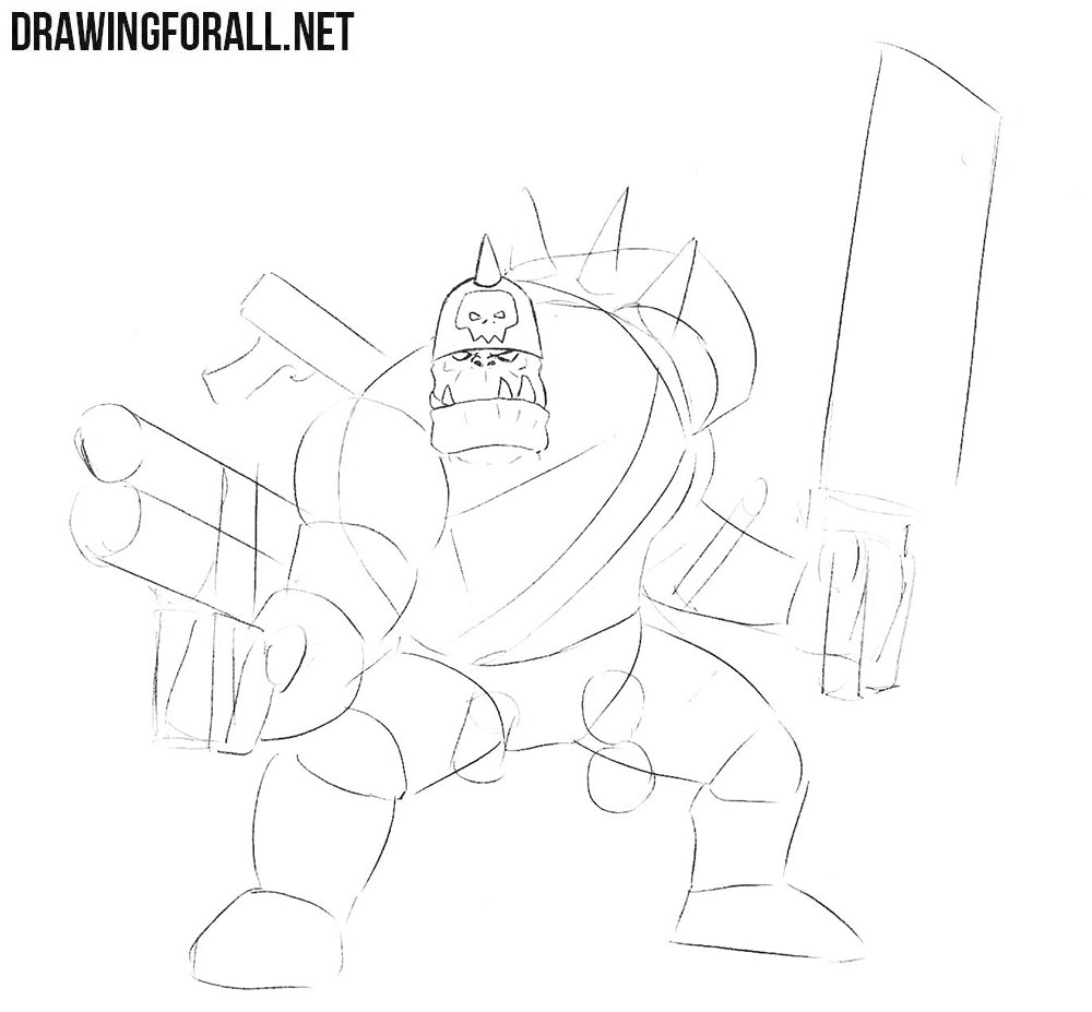 Learn how to draw an ork from Warhammer step by step